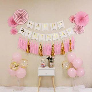 Pink/Blue Happy Birthday Banners set