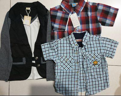 🚚 New. Buy 2 free 1. Unique sleeve red shirt and long sleeve suit with free blue shirt. 2 for $15 free 1