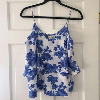 Blue White Floral Top / Ceramic Design Top