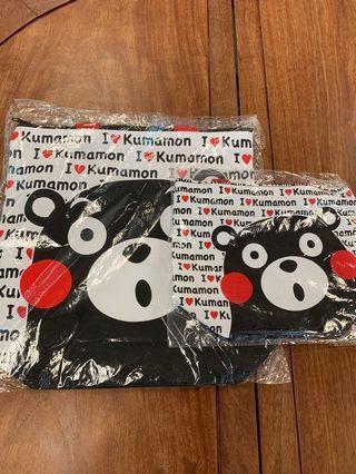 一套熊本熊布袋&飯袋kumamon