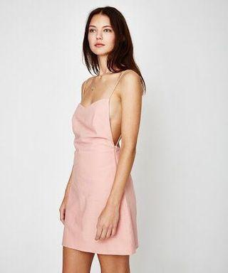 Coral Pink Backless Dress