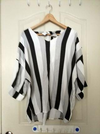 Plus Size Black and while striped blouse