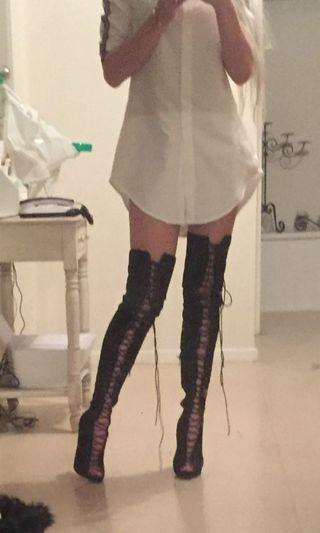 Truffle Thigh High Lace Up Boots