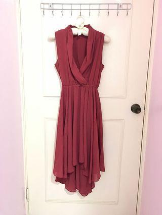 全新 雪紡乾燥玫瑰色無袖洋裝 前短後長裙