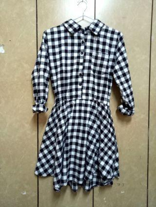 🚚 黑✖白 格子 洋裝