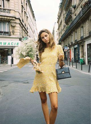 Marguerite Yellow Floral Mini Tie Sleeves Dress