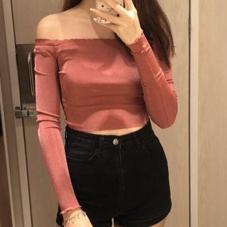 pink long sleeve off shoulder top