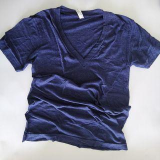 American Apparel Tri-Blend Deep V-Neck T-Shirt in Tri-Indigo