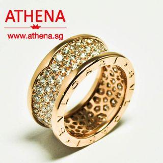 JW_WR_285 JEWELLERY 18K ROSE GOLD BVLGARI PAVE DIAMOND RING 10.85G [ WITH SERVICE CERT. ][SIZE 55]