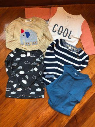 Gap H&M  tee shirt 1-2yrs old 兒童長袖衣服