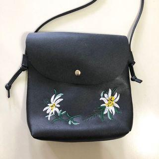 floral embroidered sling bag