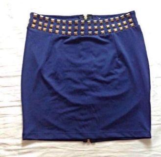 🚚 MDS Navy Studded Bodycon Mini Skirt