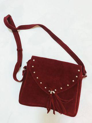 Red Leather Sling Bag (Genuine Leather)