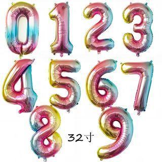 """32"""" RAINBOW NUMER FOIL BALLOON"""