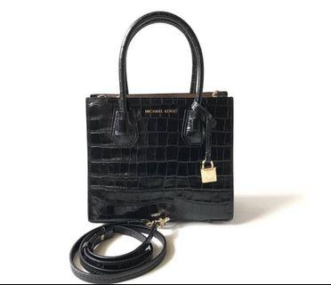Authentic michael kors black croco embossed