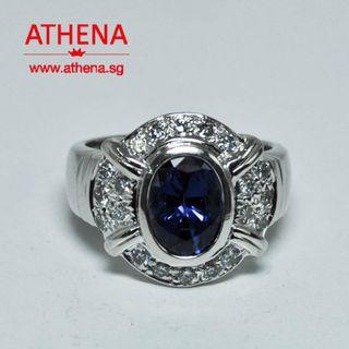 WL_SR_337 JEWELLERY 18K WG BLUE SAPPHIRE RING WITH DIAMOND D20-0.60CTS 9.83G ( SAPPHIRE 2.80CTS ) [ CERT. ]