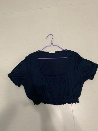 Cotton On square neck ruffles cropped top in navy