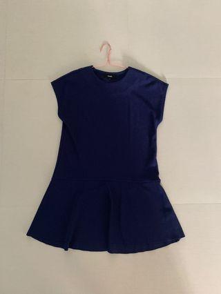 Pomelo navy drop waist dress
