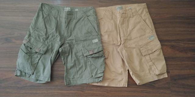 Olive and Beige Cargo Shorts