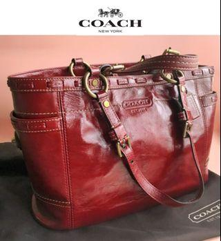 正版新coach真皮手袋 Mahogany Patent Leather Burgundy Red Tote Bag