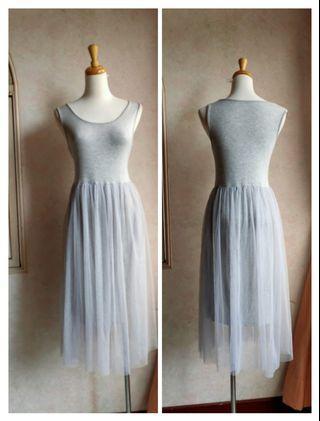 🚚 韓系灰色紗裙長裙連身裙