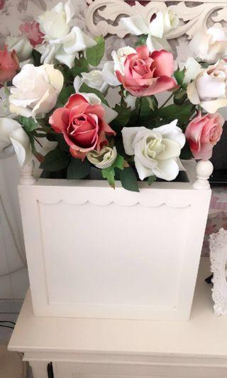 White painted wooden plant pot