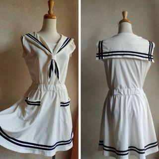 專櫃白色條紋水手服無袖及膝洋裝 日系 韓系
