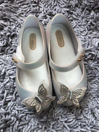 Sale mini melissa butterfly jelly transparant white size 9