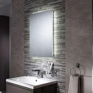 [003] Pebble Grey Bathroom Mirror - LED Illuminated Bathroom Mirror [IP44 Rated] Backlit Wall Mounted Mirror with Touch Sensor Switch (Savannah - 500 x 700 mm) [Energy Class A]
