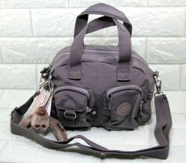 Kipling Nylon Front Pocket Small Nylon Hand Crossbody Bag-DARK GREY