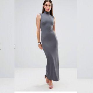 Grey Maxi Dress with Side Slit