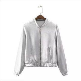 Zara Metallic Silver Bomber Jacket