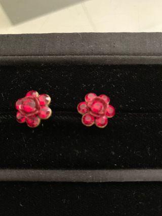 瑞士紅水晶耳環