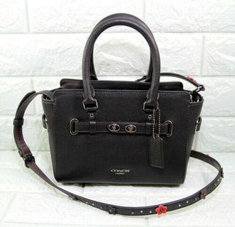 Coach Mini Blake Carryall Leather w/Floral Applique Strap Satchel-BLACK/NICKEL