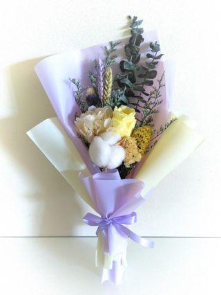 Eternal preserved rose hydrangea cotton eucalyptus flower bouquet