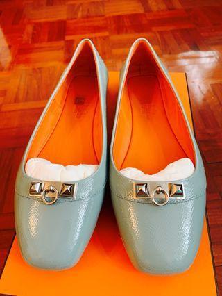 Hermès bsllerine 藍色 芭蕾舞鞋式便鞋