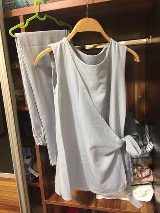 Set grey blouse+pant