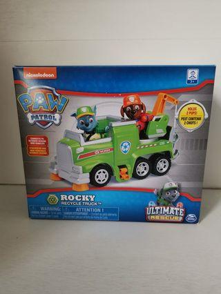 Brand new in box Nickelodeon Paw Patrol Rocky Ultimate Rescue Recycle Truck