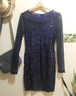 🚚 紫色亮片黑紗透膚性感小禮服洋裝