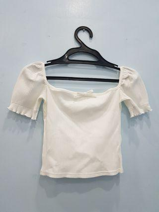 White Square Neck Ribbed Top