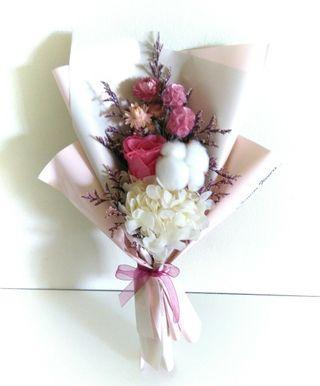 Eternal preserved dried rose, cotton, hydrangea, chrysanthemum, flower bouquet