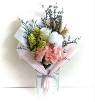 Eternal preserved dried rose, hydrangea, lavender, cotton flower bouquet.