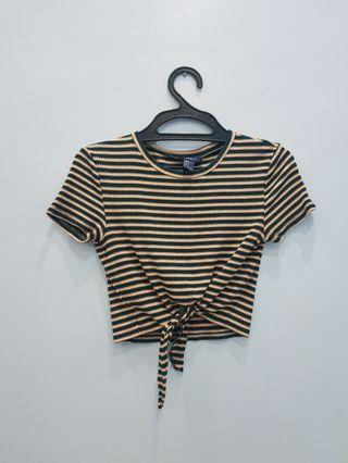 F21 Forever 21 Striped Cropped Tie Top