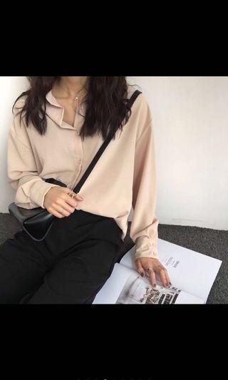 韓國歐膩杏色雪紡防曬襯衫(罩衫)