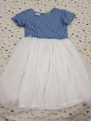 PRELOVED LITTLE MISS DENIM DRESS WITH TUTU-LIKE SKIRT (6Y)