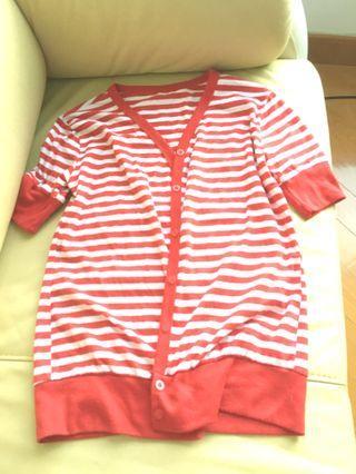 紅白間條短袖外套