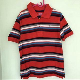 👕TOMMY HILFIGER👕 Authentic Boys' Short Sleeve Orange Red Stripe Polo T-Shirt (Size: S/P)