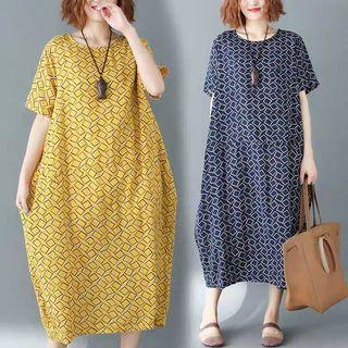 Retro plaid printing cotton and linen loose dress