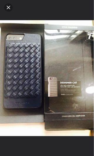 Viva Madrid blue genuine all leather iPhone 8 Plus case