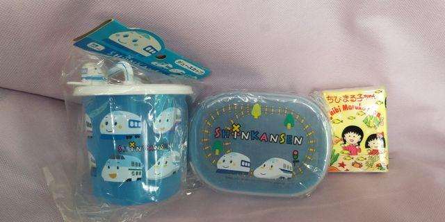新幹線 全新日版 Sanrio 兒童膠杯 毛巾膠盒 2件